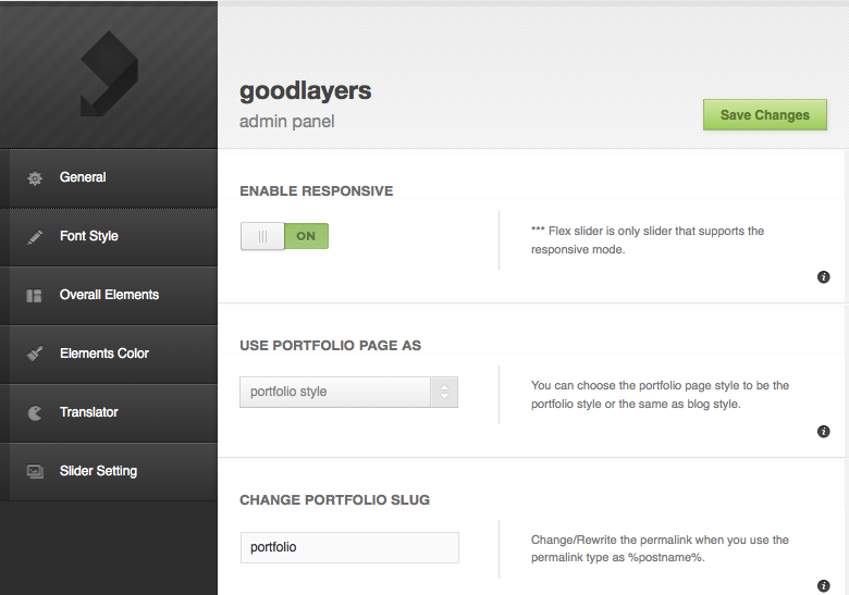 Goodspace admin panel