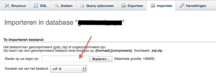 Importeren WordPress database