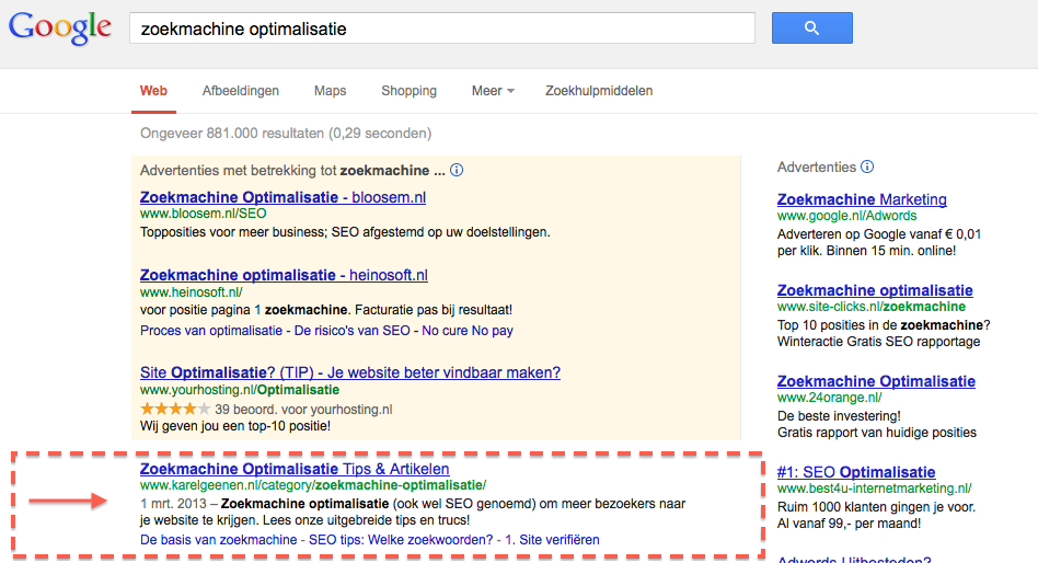 Organische zoekresultaten in Google