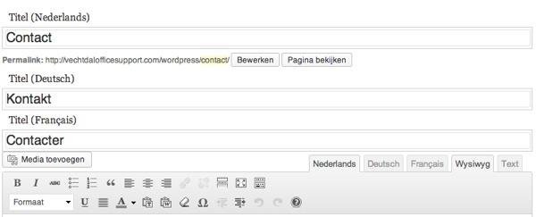 Pagina's in meerdere talen invoeren