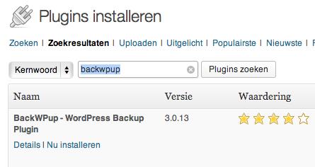 Plugin BackWPup installeren