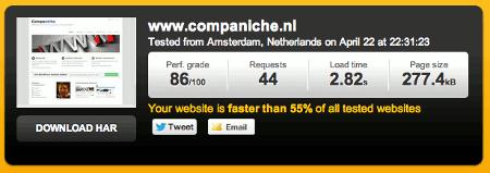 Snelheid website meten met Pingdom Tools