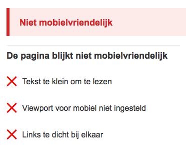 Website niet mobielvriendelijk