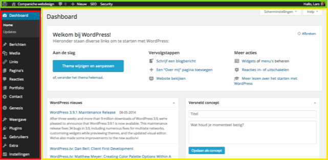Het WordPress dashboard