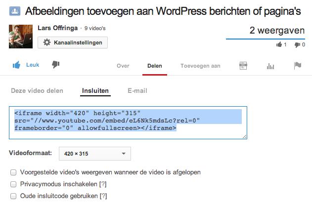 YouTube filmpje opnemen WordPress